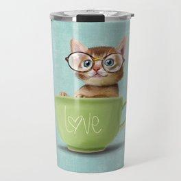 Kitten with glasses Travel Mug