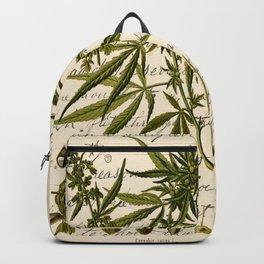 Marijuana Cannabis Botanical on Antique Journal Page Backpack