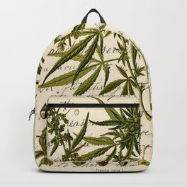 Marijuana Cannabis Botanical on Antique Journal Page Backpack