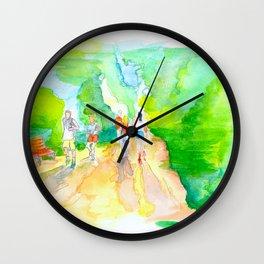 Hike & Bike Trail - Lady Bird Lake Watercolor painting Wall Clock