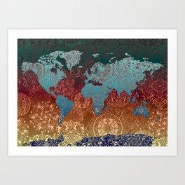 world map mandala vintage Art Print