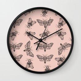 Pink moths pattern Wall Clock