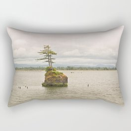 Altoona Rock Seastack Island Columbia River Oregon Washington Northwest Landscape Forest Trees Rectangular Pillow
