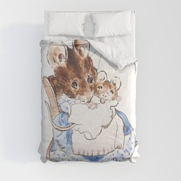 Mrs Mouse and baby Peter Rabbit  Beatrix Potter Comforters