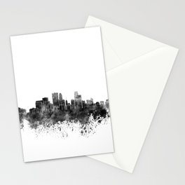 Minneapolis skyline in black watercolor on white background Stationery Cards