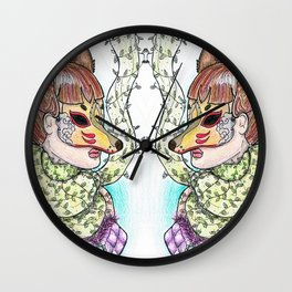 Girl Kitsune Wall Clock