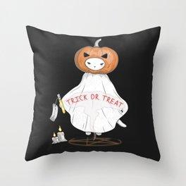 Summon the Halloween Pumpkin Head Cat Throw Pillow
