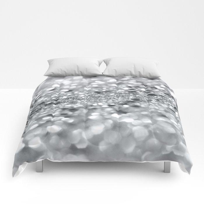 Silver Gray Lady Glitter #1 #shiny #decor #art #society6 Comforters
