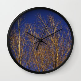 Glimmering Golden Willow Wall Clock