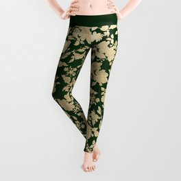 Stylish forest green chic gold elegant floral pattern Leggings