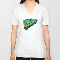 pool V-neck T-shirts featuring Pool shark by Jonah Makes Artstuff