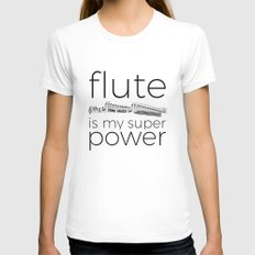 Flute is my super power White MEDIUM Womens Fitted Tee