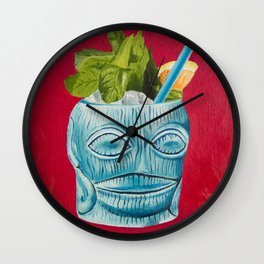 Tiki Drink Tropical Cocktail / Oil Painting Wall Clock