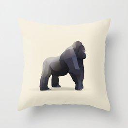 Geometric Silverback Gorilla - Modern Animal Art Throw Pillow
