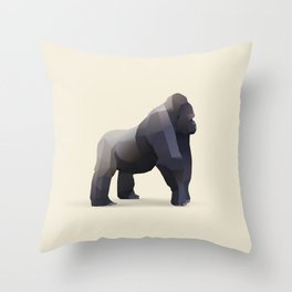 Geometric Silverback Gorilla - Modern Animal Art Throw Pillow