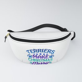 Christmas Terriers Make Christmas Merry Dog Lover Fanny Pack