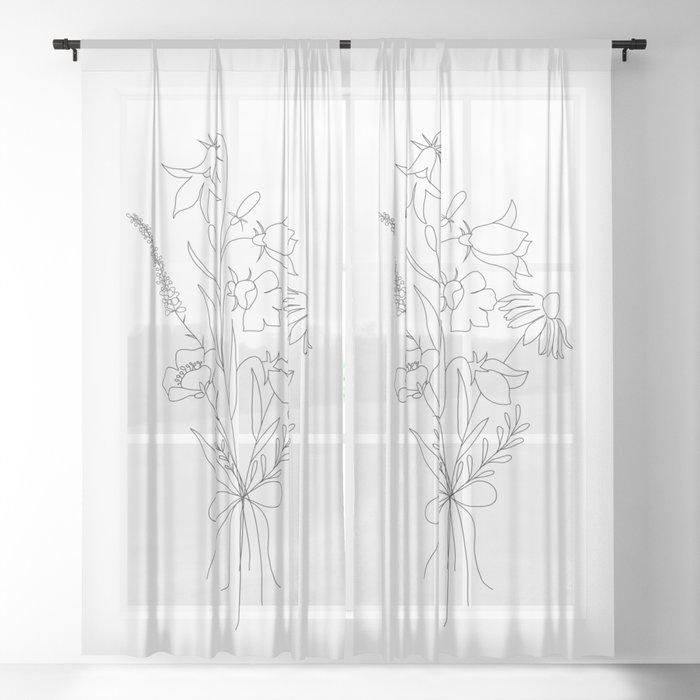Small Wildflowers Minimalist Line Art Sheer Curtain