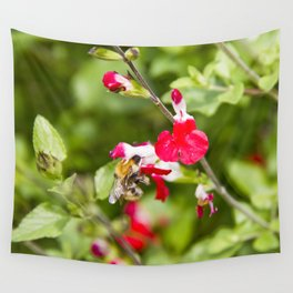 Busy bee in the flowers Wall Tapestry