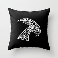 celtic Throw Pillows featuring Celtic xenomorph by ronnie mcneil