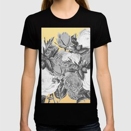 Floral Rose Black and White on Lemon Yellow T-shirt