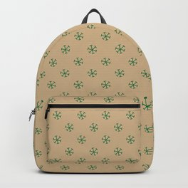 Cadmium Green on Tan Brown Snowflakes Backpack
