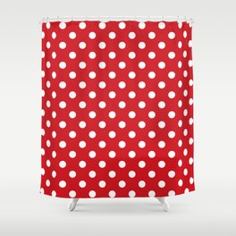 Small Polka Dots - White on Fire Engine Red Shower Curtain