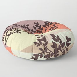 Quiet and peaceful night, cute owl snooze on the tree Floor Pillow