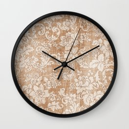 Vintage white brown grunge shabby floral Wall Clock