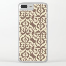 Ikat Moorish Damask, Beige and Taupe Tan Clear iPhone Case