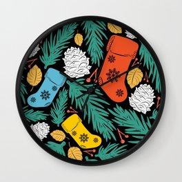 Christmas Stocking Ornaments on Tree Pattern Wall Clock