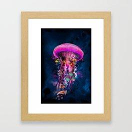 Pink Electric Jellyfish Framed Art Print