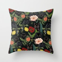 Botanical and Black Cats Throw Pillow