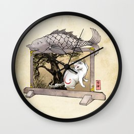 Okami Cat Zodiac Sign Wall Clock