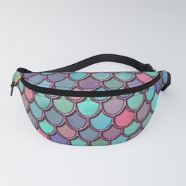 Colorful  Pink Glitter Watercolor Mermaid Scales Fanny Pack