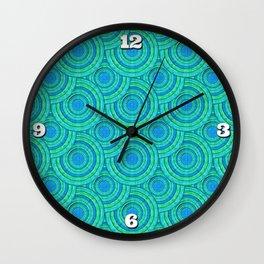 Teal Parasols Pattern Wall Clock