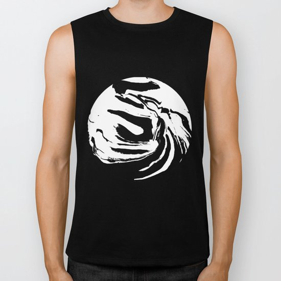 World's Threshold Black and White Marbling, Marbles Lost Biker Tank