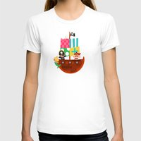 pirate ship T-shirts featuring PIRATE SHIP (AQUATIC VEHICLES) by Alapapaju