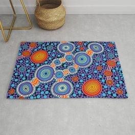 Authentic Aboriginal Art - The Journey Blue Rug
