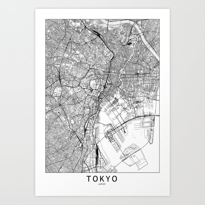 Tokyo White Map Art Print by multiplicity on map flags, map design, antique maps and prints, map clothing, map of california, map accessories, map home decor, map wedding, map medieval prints, map craft prints,