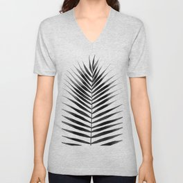 Palm Leaf Watercolor | Black and White Unisex V-Neck