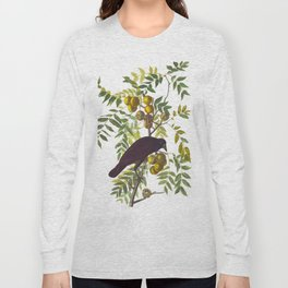American Crow Vintage Bird Illustration Long Sleeve T-shirt