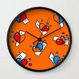 Hearts with Stitches - Blue Red Orange - Orange Wall Clock