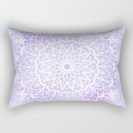 White Mandala on Pastel Blue and Purple Textured Background Rectangular Pillow