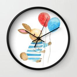 Bunny & Balloons Wall Clock