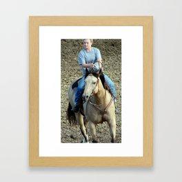 Buckskin Horse Barrel Race Warmup Framed Art Print