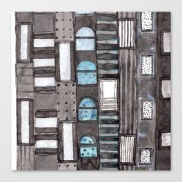 Gray Facade with Lighted Windows Canvas Print
