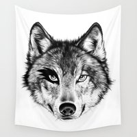 door Wall Tapestries featuring The Wolf Next Door by florever