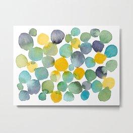 Kissing Dots - Blues and Yellows Metal Print