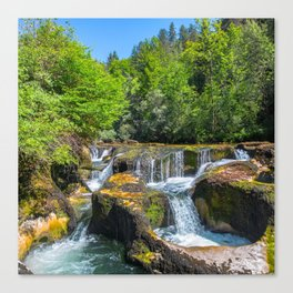 Rock erosion from waterhole with waterfall in middle of forest Canvas Print