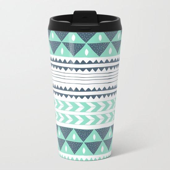Winter Stripe Metal Travel Mug